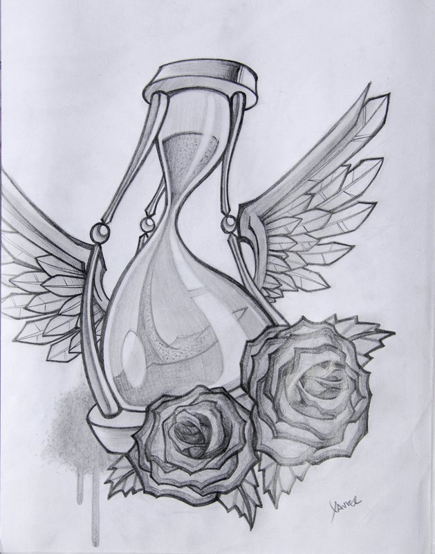 Flying Hour Glass And Rose Tattoo Designs