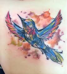 Flying Watercolor Bird Tattoo (3)