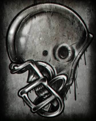 Football Helmet Tattoo Flash