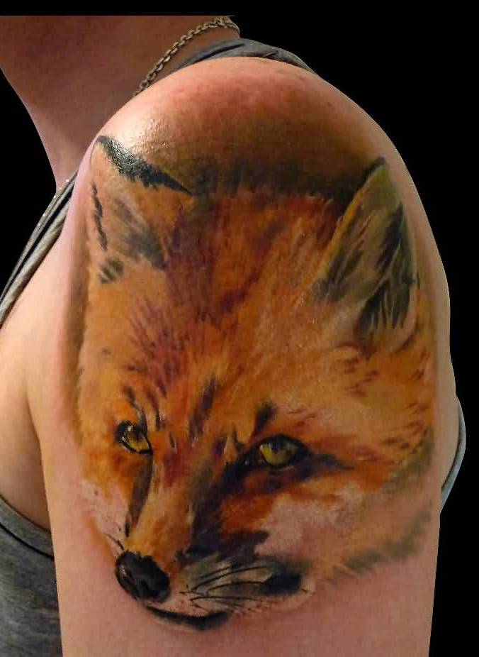 Fox Face Portrait Tattoo On Biceps