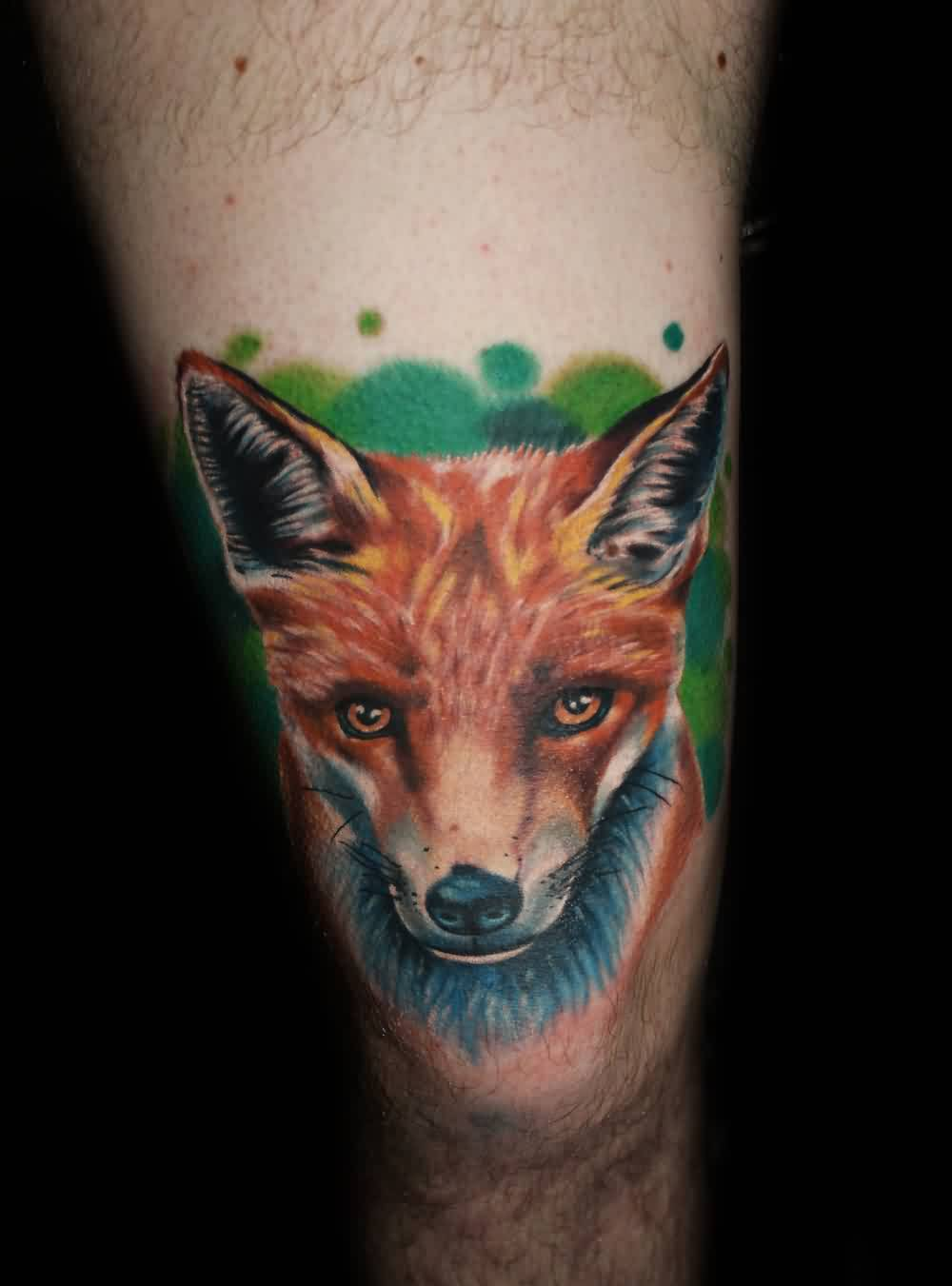 Fox Head Portrait Tattoo On Thigh