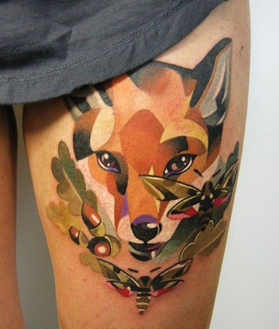 Fox Watercolor Tattoo On Thigh For Girls