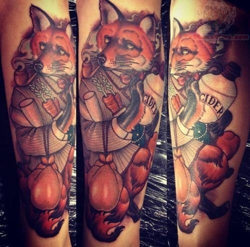 Fox With Bottle Tattoo On Arm