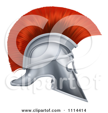 Free 3D Silver And Red Corinthian Trojan Helmet Tattoo Design