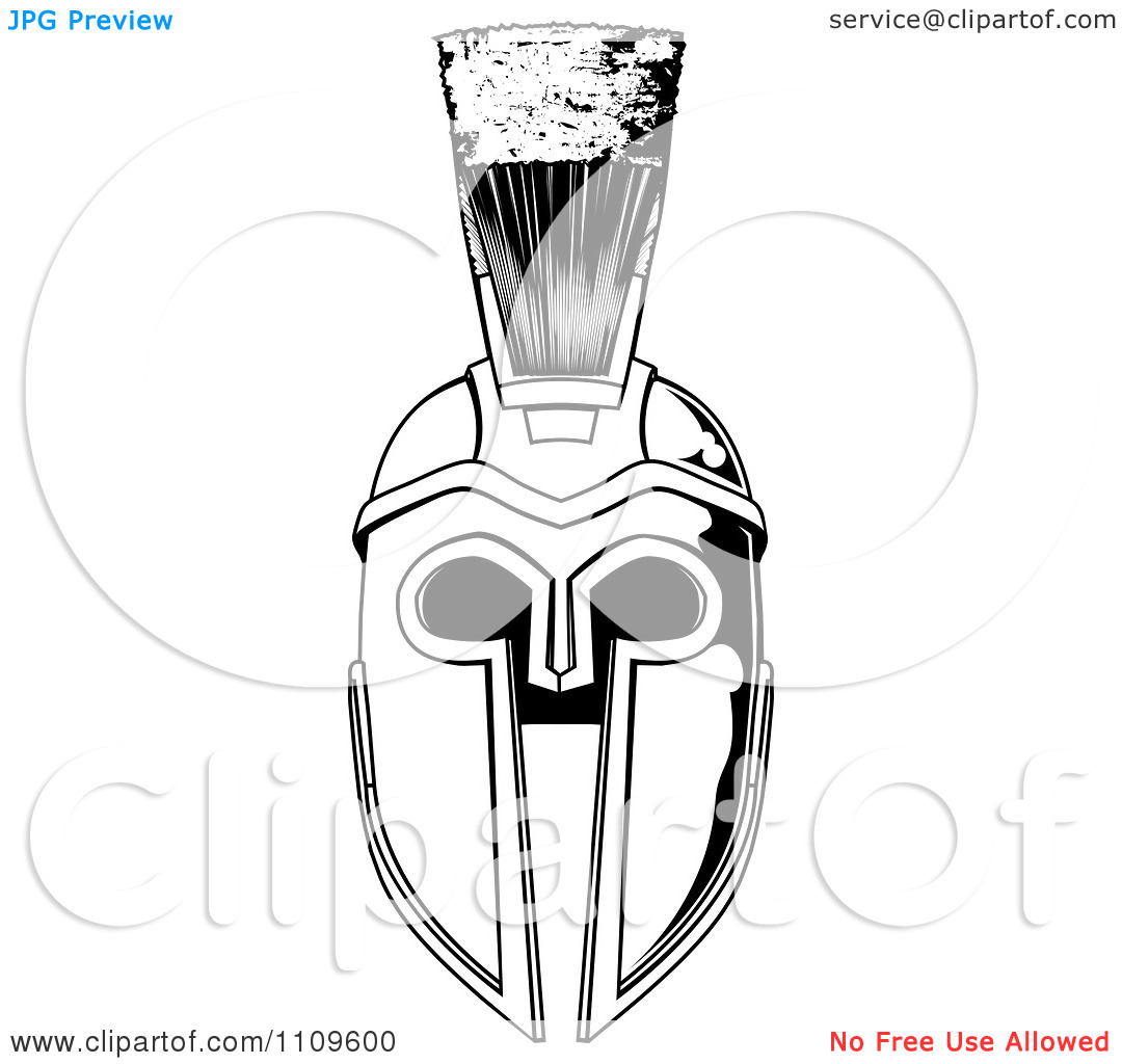 Free Black And White Spartan Helmet Tattoo Design