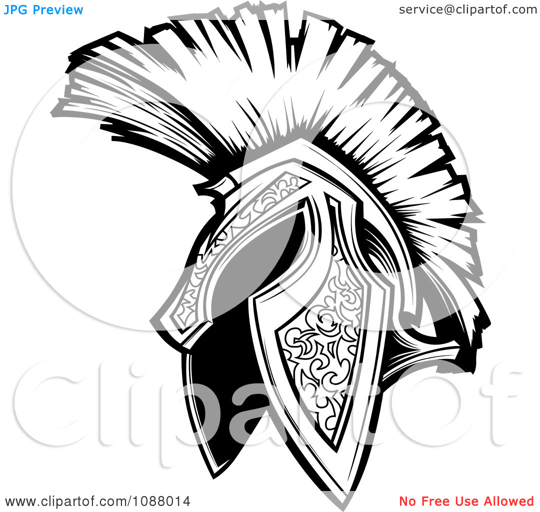 Free Black And White Spartan Trojan Helmet Tattoo Design