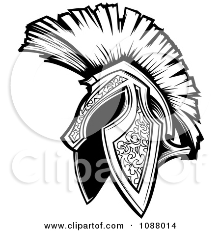 Free Black And White Trojan Helmet Tattoo Design