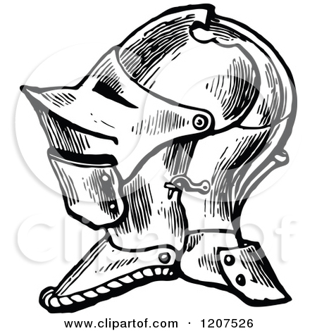 Free Vintage Black And White Knight Helmet Tattoo Design