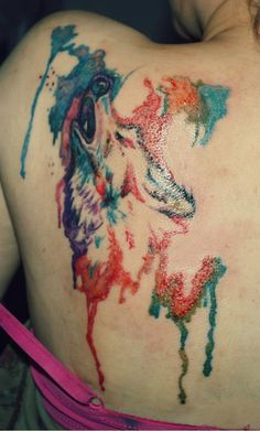 Fresh Watercolor Tattoo On Back Shoulder