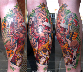 Freshly Finished The Queen Of Spades Tattoo On Leg