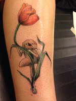 Frog On A Tulip Flower Tattoo