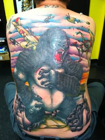 Full Back Screaming Black Animal Tattoo