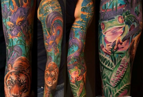 Full Sleeve Of Colorfufl Animal Tattoos