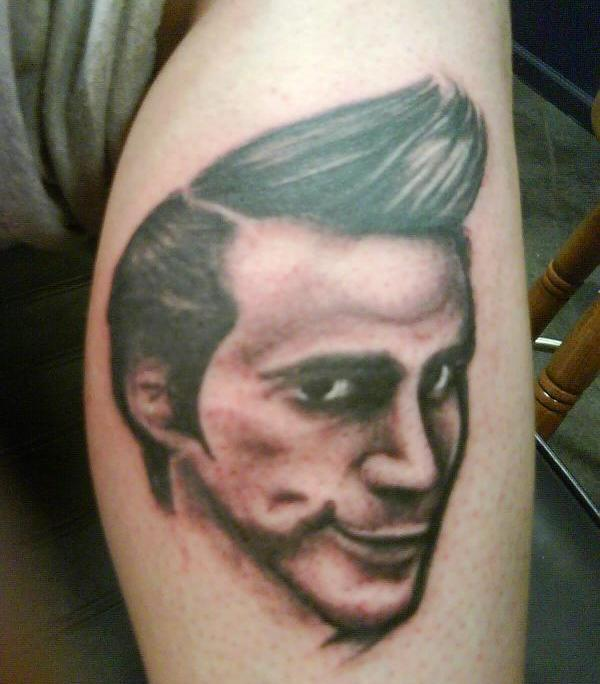 Funky Hairs Jim Carrey Portrait Tattoo