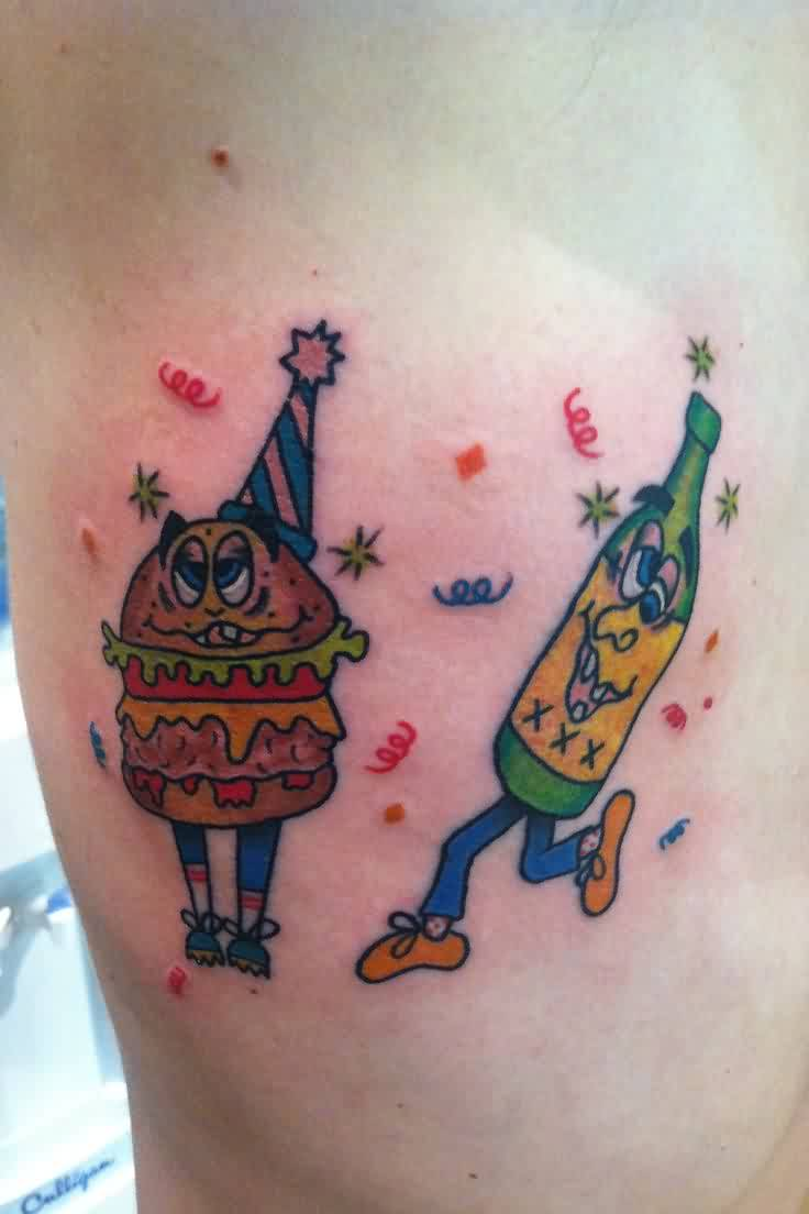 Funny Burger And Bottle Tattoos