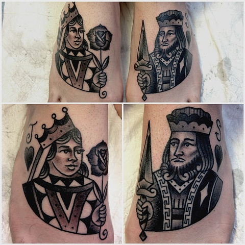 Gambling Queen And King Tattoos On Feet