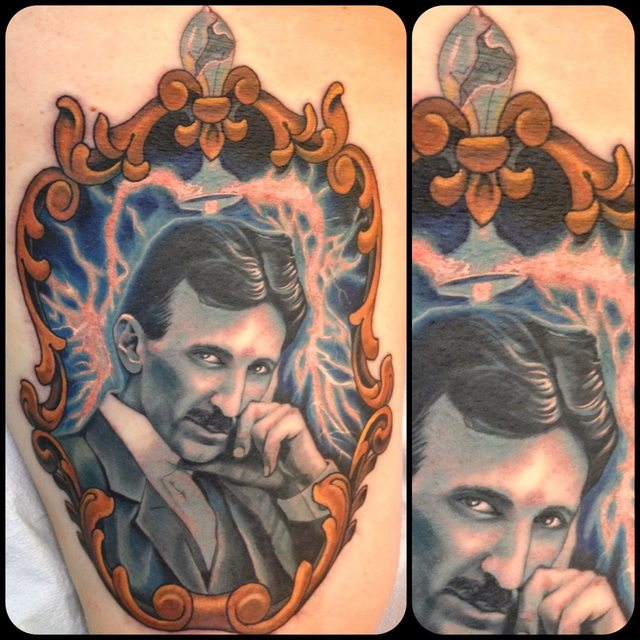 Gentleman Portrait In Frame Tattoo