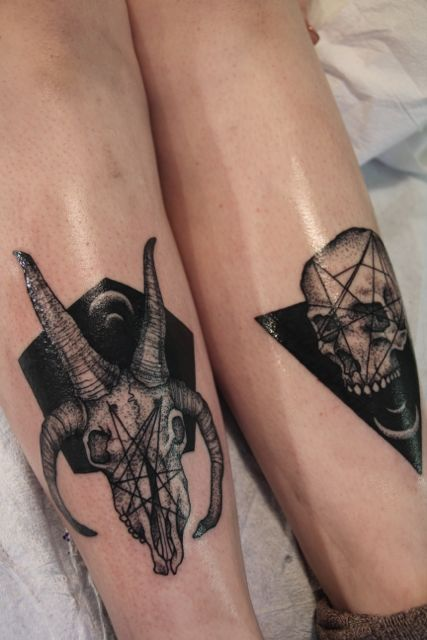 Geometric Animal Skull And Skull Tattoos