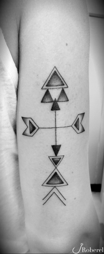Geometric Arrow Tattoo On Back Arm