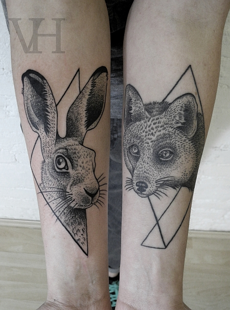 Geometric Fox And Hare Tattoos