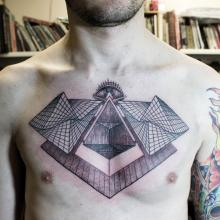 Geometric Pyramids Tattoos On Chest