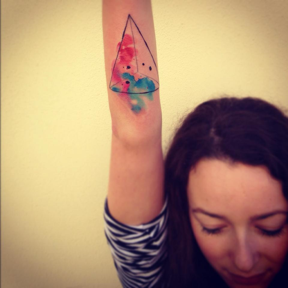Geometric Watercolor Tattoo On Arm