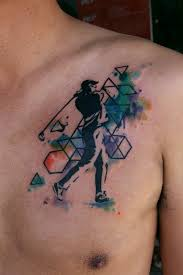 Geometric Watercolor Tattoos On Chest