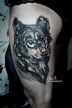 Geometric Wolf Tattoo On Thigh