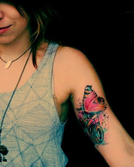 Girl Has Watercolor Tattoos