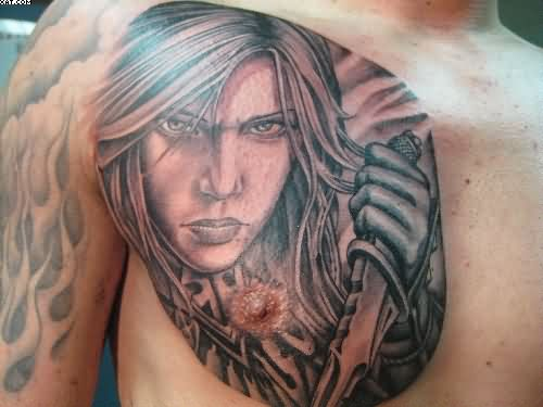 Girl With Knife Portrait Tattoo On Chest