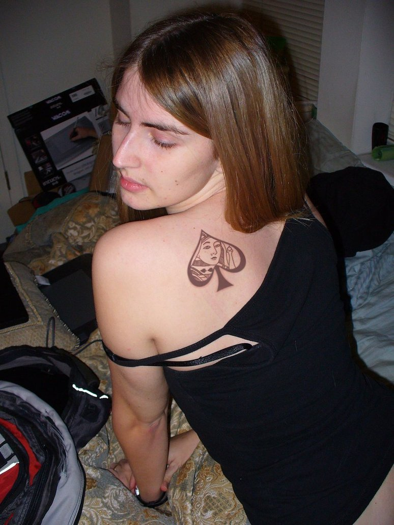 Girl With Queen Of Spades Tattoo