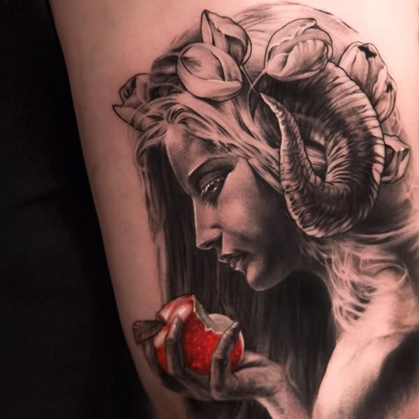 Girl With Red Apple Portrait Tattoo