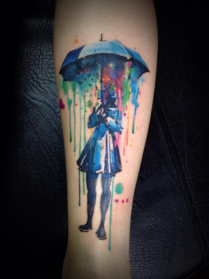 Girl With Umbrella Watercolor Tattoo
