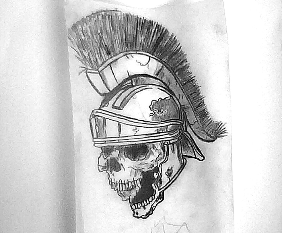 Gladiator Skull In Helmet Tattoo Drawing