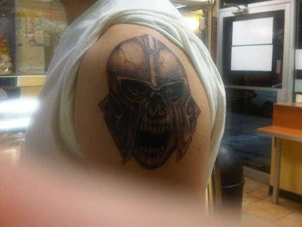 Gladiator Skull Wearing Helmet Tattoo On Shoulder