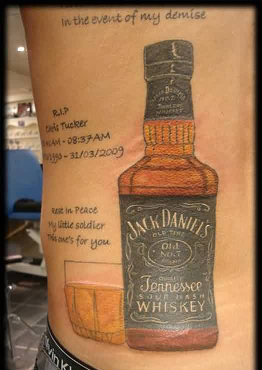 Glass And Whiskey Bottle Portrait Tattoos