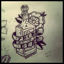 Glass Bottle And Flower Tattoos Sketch