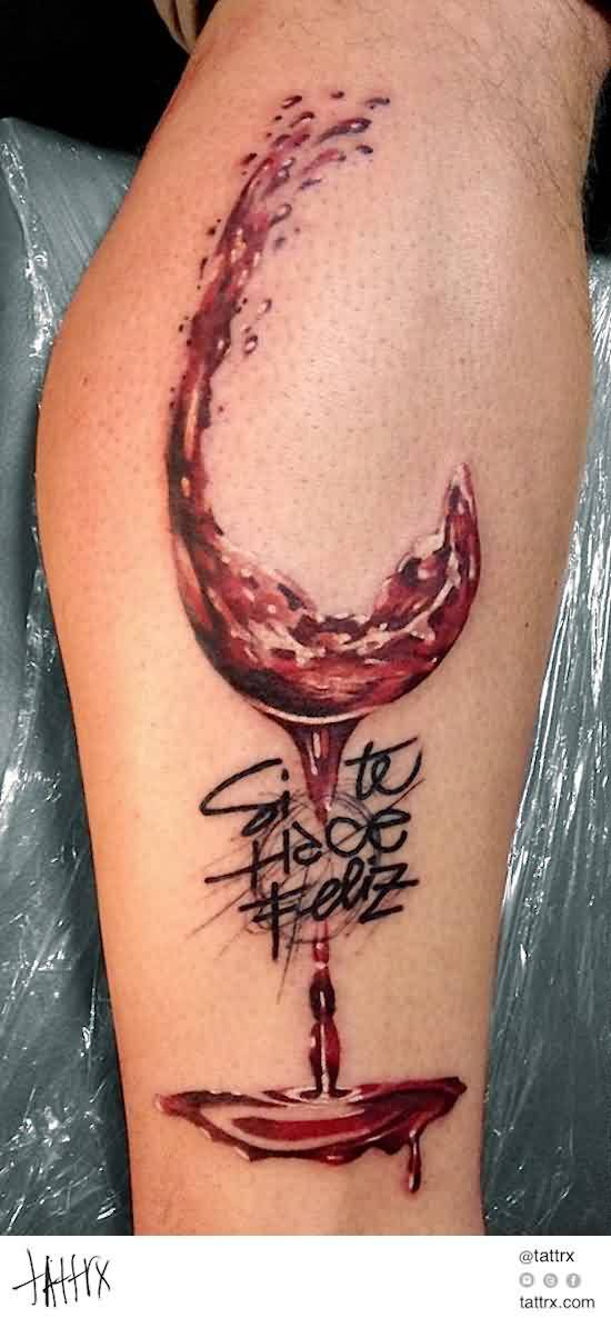 Glass Of Wine Without The Cup Watermarked Tattoo