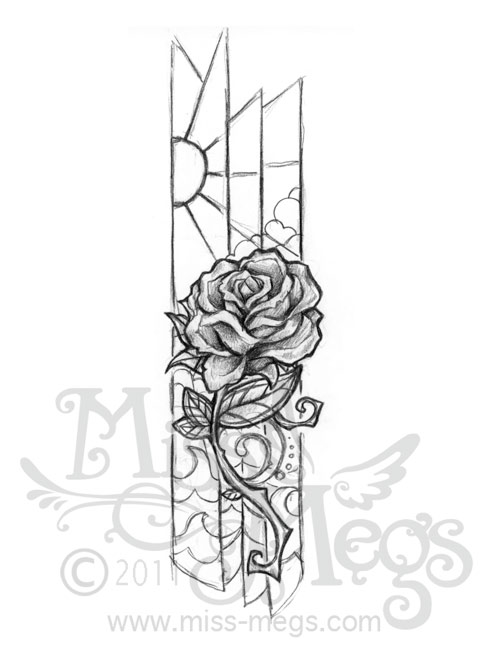 Glass Rose Tattoo Drawing