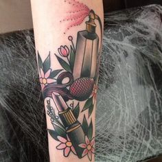 Glorious Flowers Lipstick And Perfume Bottle Tattoos