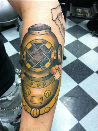 Golden And Grey Ink Diving Helmet Tattoo