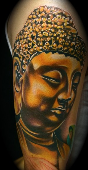 Golden Buddha Portrait Tattoo On Arm