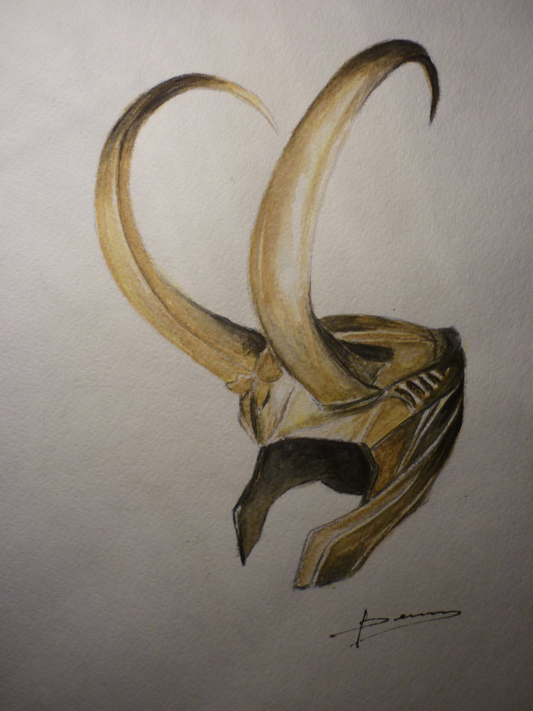 Golden Loki's Helmet Tattoo Design
