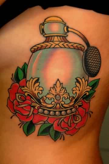 Gorgeous Bottle Of Perfume And Roses Tattoos