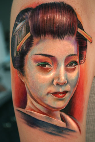 Gorgeous Colored Geisha Portrait Tattoo