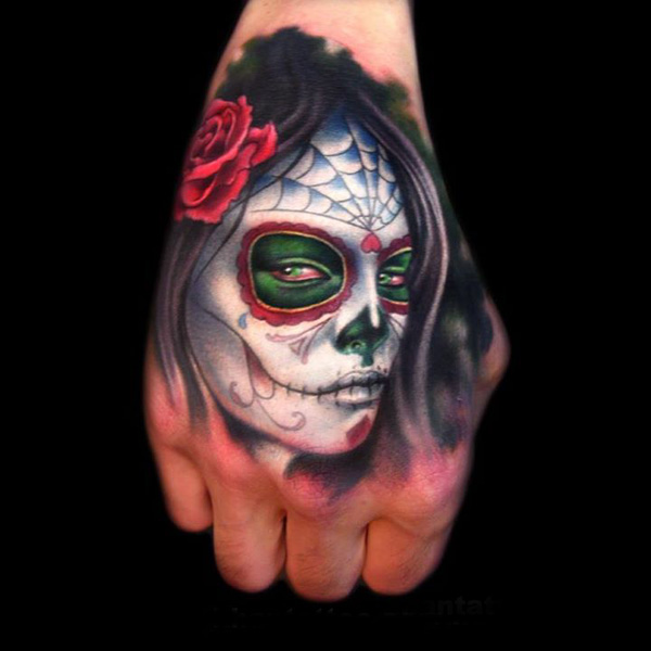 Gorgeous Dia De Los Muertos Girl Portrait Tattoo On Hand