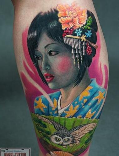 Gorgeous Geisha Colored Portrait Tattoo