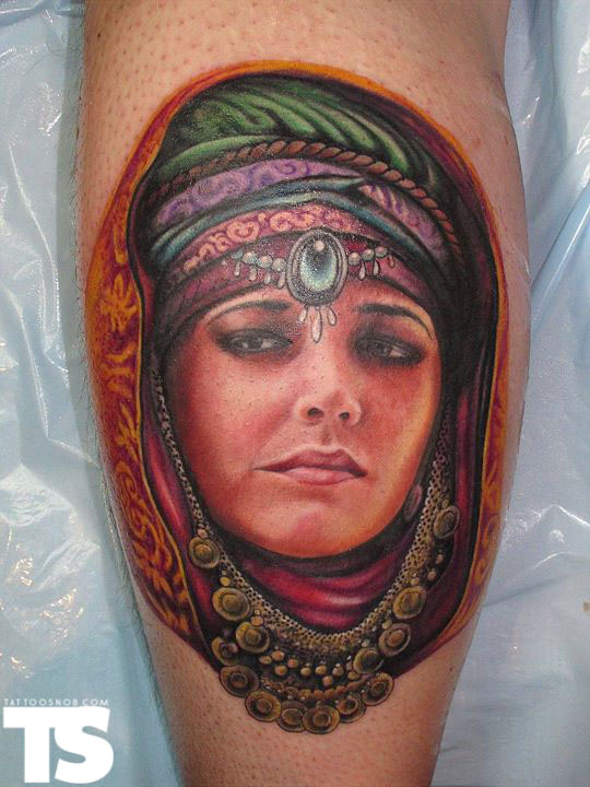 Gorgeous Lady Portrait Tattoo