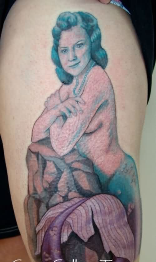 Gorgeous Mermaid Portrait Tattoo On Thigh