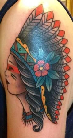 Gorgeous Native American Girl Tattoo On Biceps